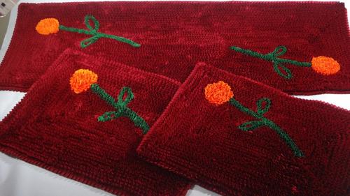 jogo de tapetes de malha frufru-cozinha-decoração