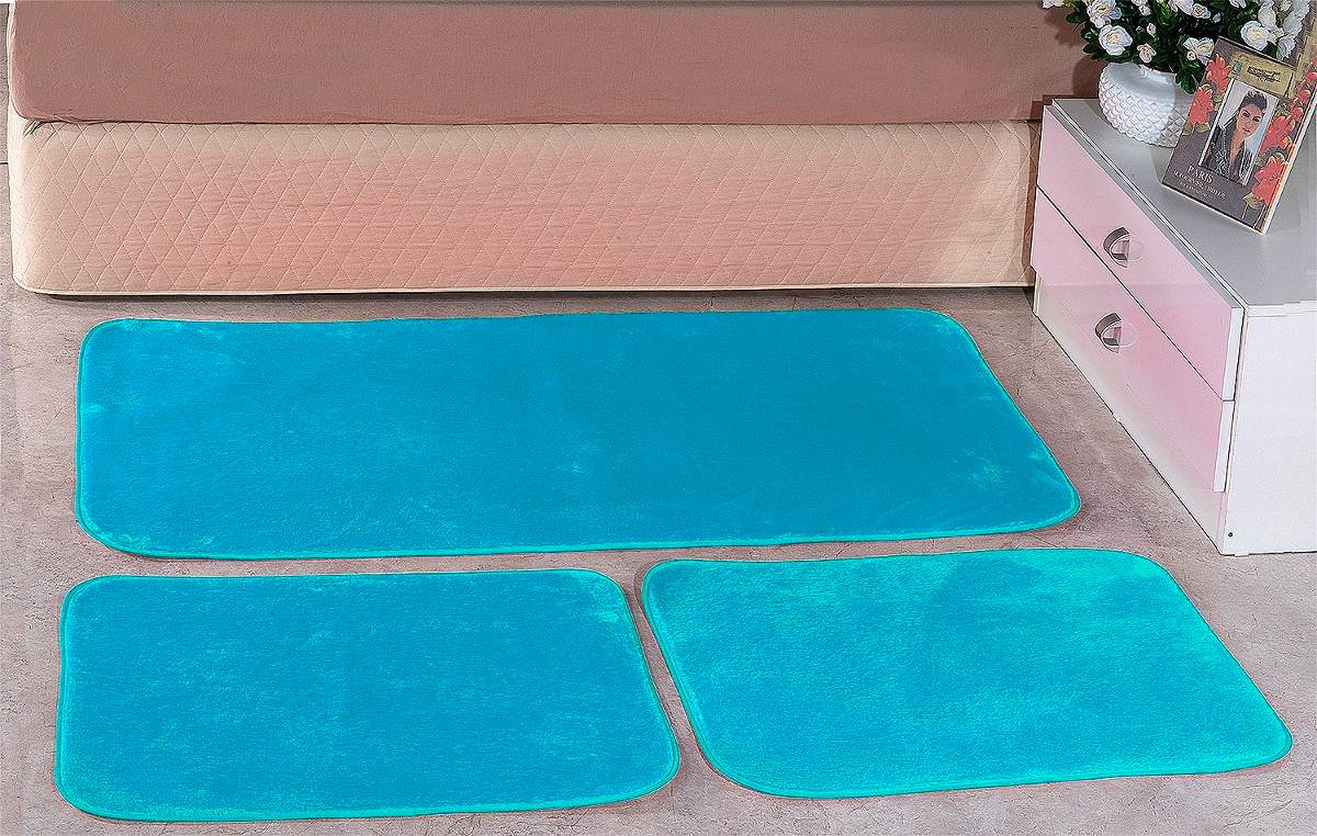 Jogo De Tapetes Lisos Sala Quarto 1 33m X 1 33m Azul R 84 90 Em