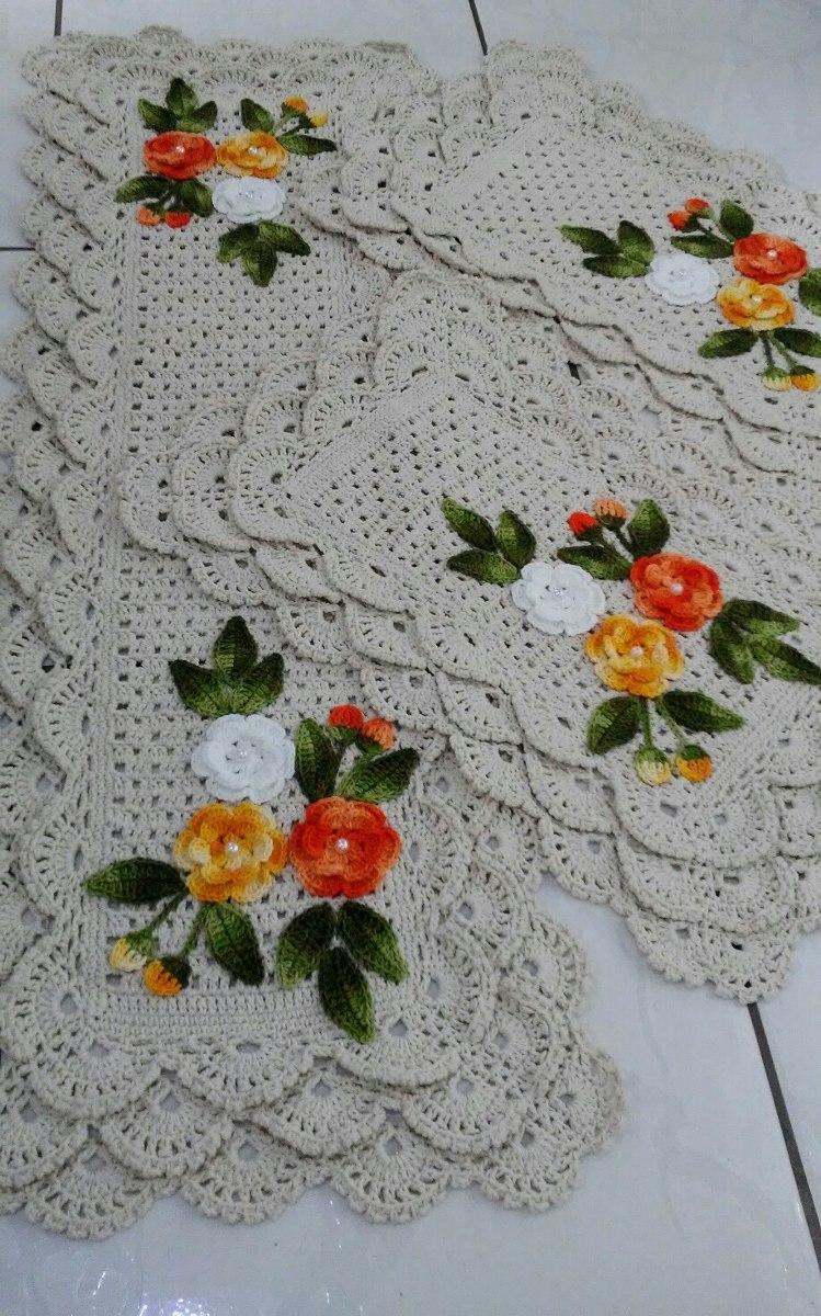 Jogo De Tapetes Para Cozinha Croche R 219 82 Em Mercado Livre