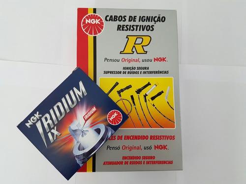 jogo de vela iridium + cabos ngk fiat uno 1.0 93/01 bpr5eix