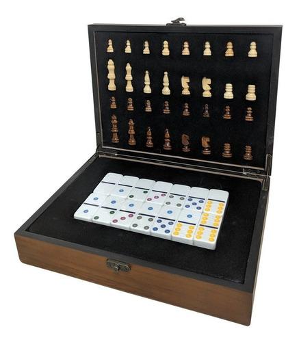 jogo de xadrez com dominó caixa madeira luxo