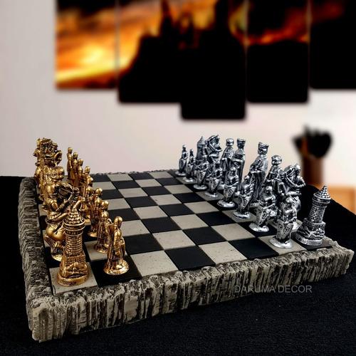 jogo de xadrez + tabuleiro tematico coleção medieval resina