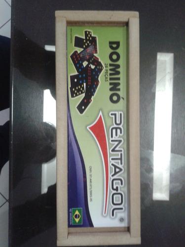 jogo domino madeira com estojo