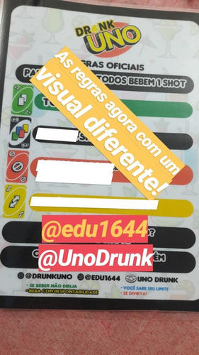 Jogo Drunk Uno Jogo De Bebida Uno Drink 1 Brinde R 99 90