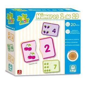 Jogo Educativo Números De 1 Ao 10 - Coleção Be-a-bá Madeira