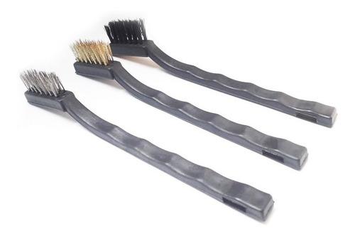 jogo escovas mini em aço cabo plastico c/ 3 peças - eda 8ag