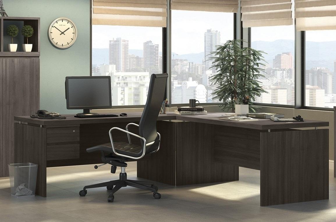 Jogo escrit rio 4 pe as gaveteiro canto 2 mesas kappesberg for Mesas de escritorio zaragoza