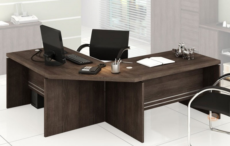 Jogo escrit rio kappesberg 4 pe as gaveteiro canto 2 mesas for Mesa escritorio