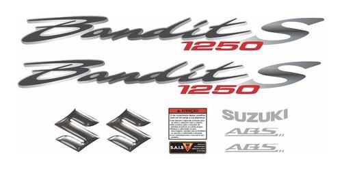 jogo faixa emblema adesivo suzuki bandit 1250s 2010 preta