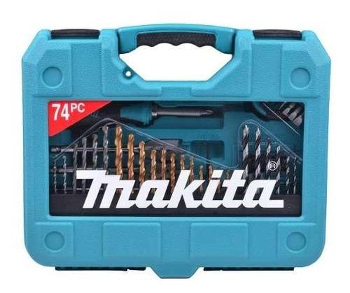 jogo ferramentas 74pç brocas/bits/chave/trena p-90336 makita