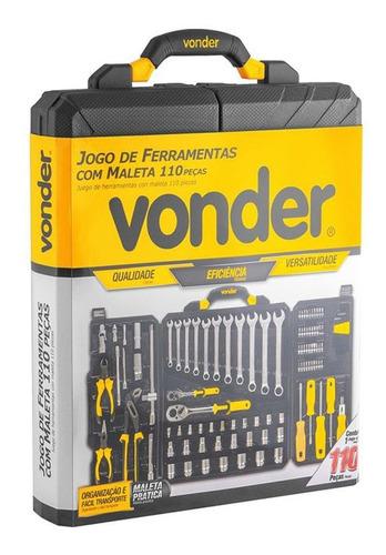 jogo ferramentas cromo vanádio 110 peças profissional vonder
