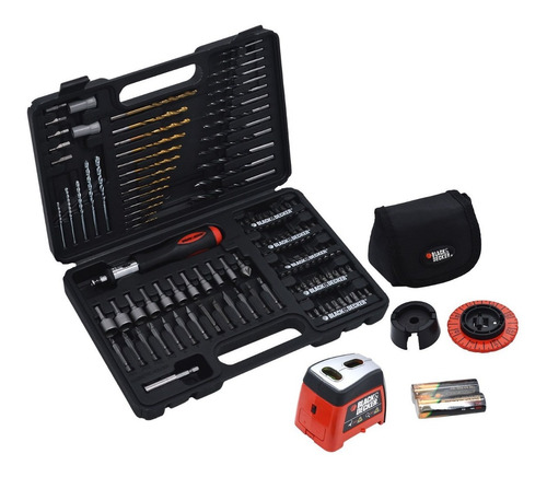 jogo ferramentas e brocas nivel laser 115 peças black decker