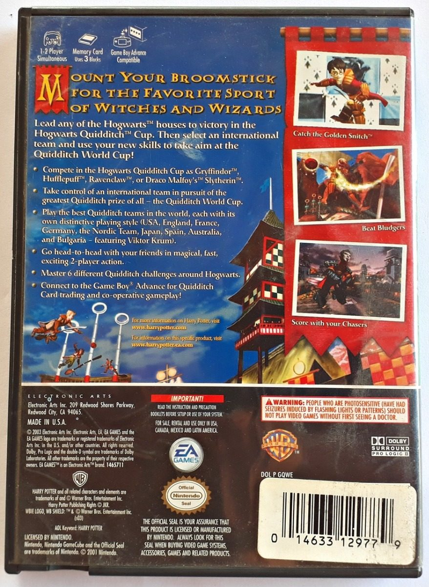 Jogo Harry Potter Quidditch World Cup Gamecube Original Game