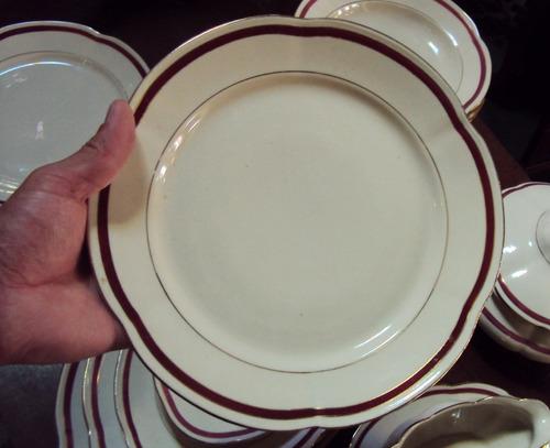 jogo jantar 12 pessoas polonês chodziez porcelana c vermelho