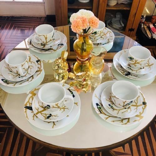 jogo jantar e café porcelana galhos e pássaros 30 peças