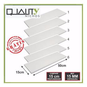 Jogo Kit 6 Prateleiras Mdf Branco 15mm - Suporte Invisivel