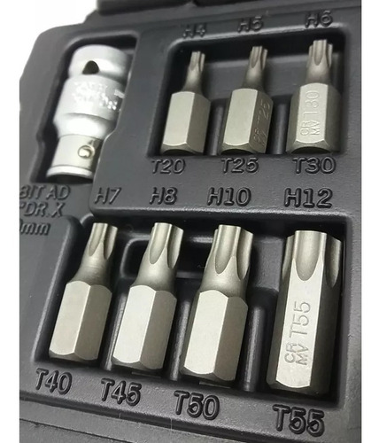 jogo kit de bits torx 15 peças t20 a t55 crv 11315 stels