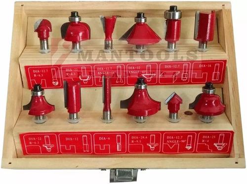 jogo kit fresas tupia 6mm mdf madeira 12 peças + estojo
