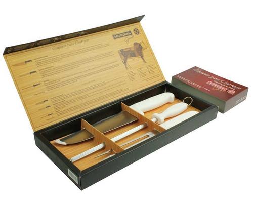 jogo kit para churrasco mundial 3 peças embalagem estojo