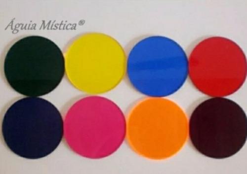 jogo laminas cromoterapia redondas em acrílico 08 cores