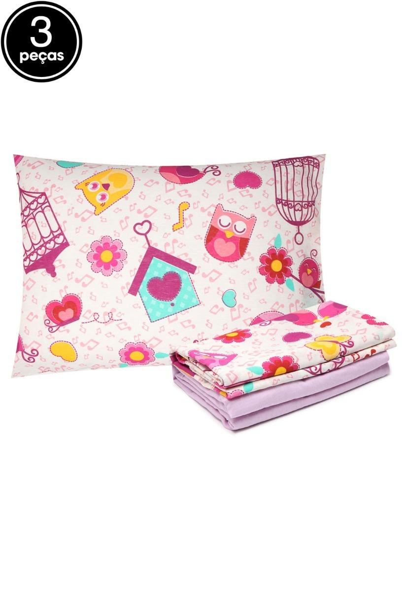 2b83360eab jogo lençol 3 peças cama solteiro corujas bird 80% algodão. Carregando zoom.