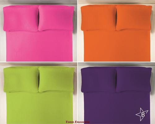 jogo lençol 3 peças queen com elástico malha 100% algodão