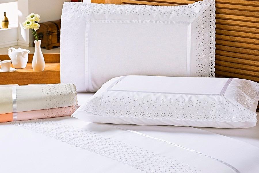 396d08069a jogo lençol cama queen noiva branco percal 150 fios 4pç lese. Carregando  zoom.