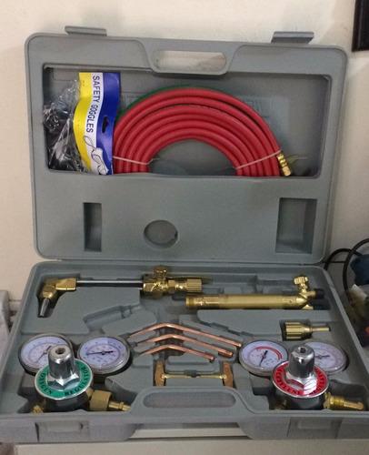jogo maçarico solda e corte + regulador oxigênio e acetileno
