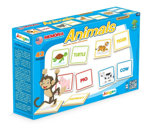 jogo memória animais em inglês brinquedo educativo infantil