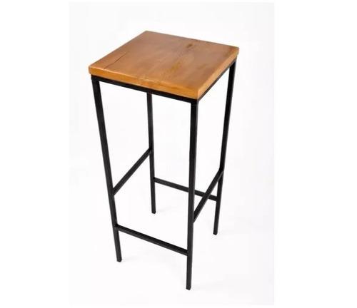 jogo mesa + 4 banquetas quadrada ferro artesanal bar
