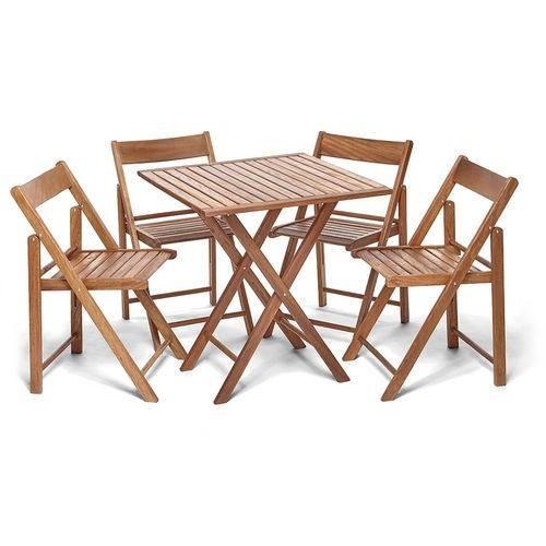 jogo mesa beer c/ 4 cadeiras flexo gourmet castanho