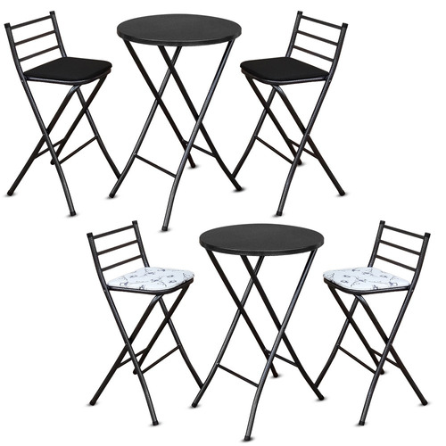 jogo mesa bistro alta em aço dobrável c/ 02 bancos banquetas