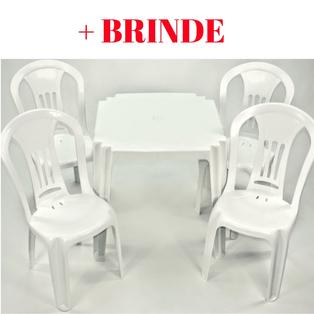 Image of: Jogo Mesa E 4 Cadeira Plastico Empilhavel Barato Brinde R 195 00 Em Mercado Livre