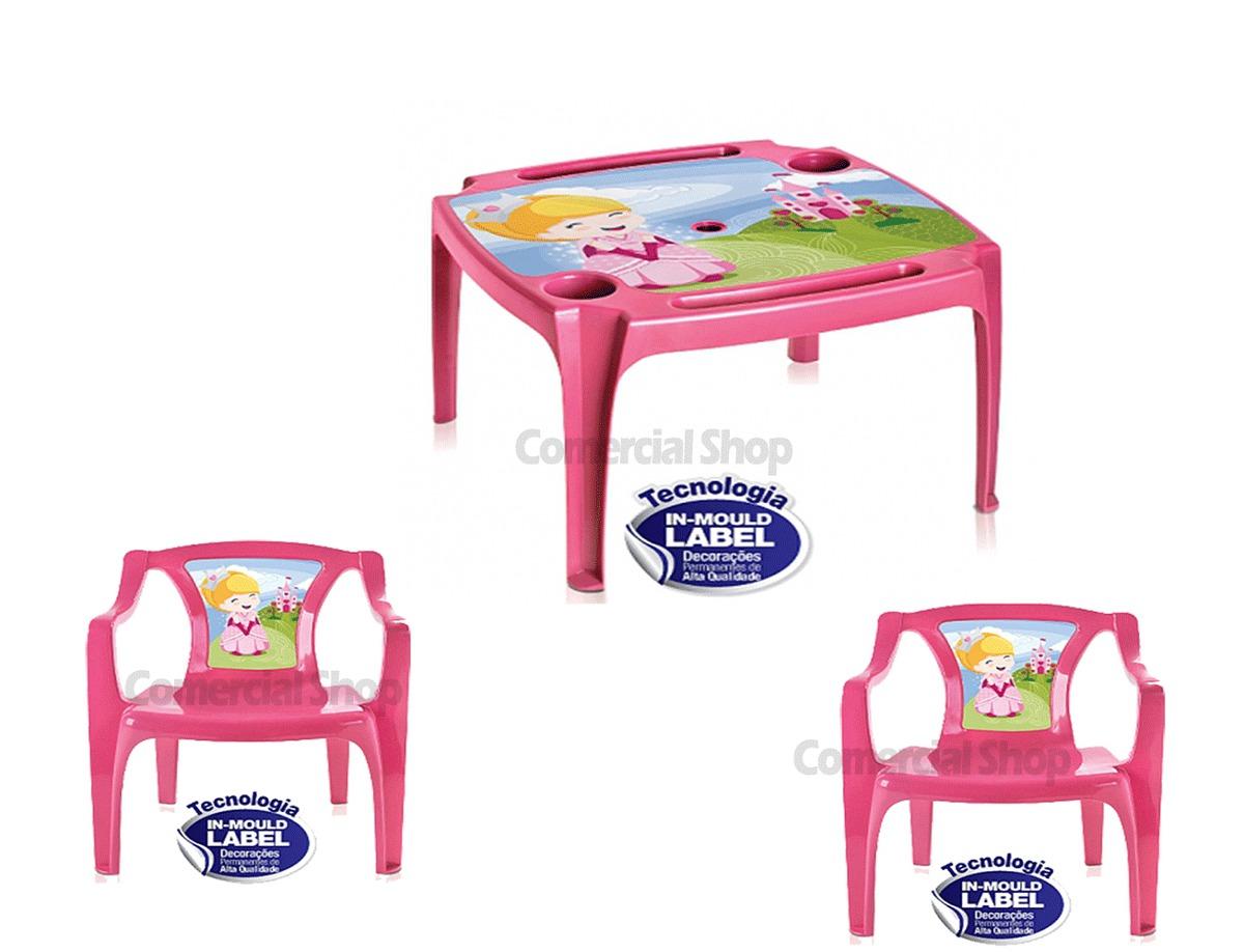 Jogo mesa infantil 2 cadeira rosa poltrona mesinha for Mesa infantil