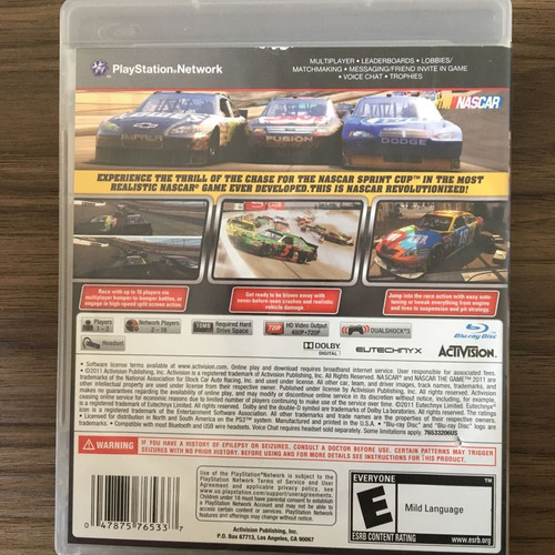jogo nascar 2011 the game - ps3 - midia fisica -seminovo