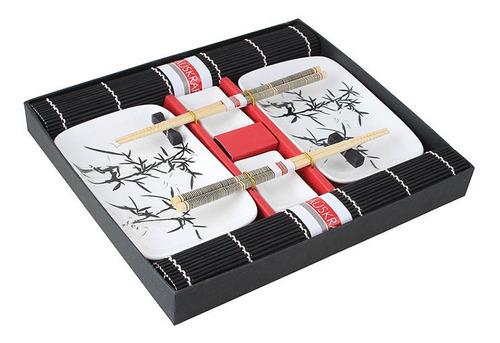 jogo para comida japonesa com 10 peças - preto e branco