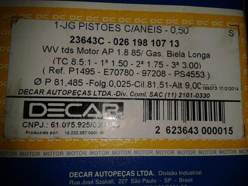 jogo pistoes c/ aneis motores ap 1.8 85 gas. 050