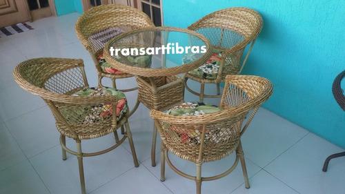 jogo poltrona mesa  cadeira de fibra sintetica  sofa varan