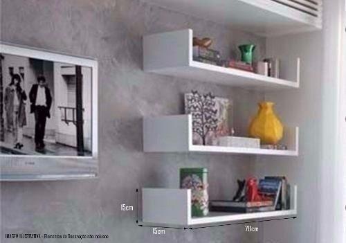jogo prateleira u 70x20 quarto sala cozinha bebe mdf branco