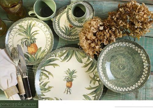 jogo pratos abacaxi verde rasos e sobremesa porto brasil 6un