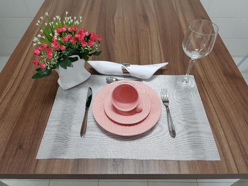 jogo pratos de sobremesa e xicara de chá madeleine rosa 6 un