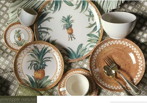 jogo pratos rasos porto brasil pineapple natural 6 unidades