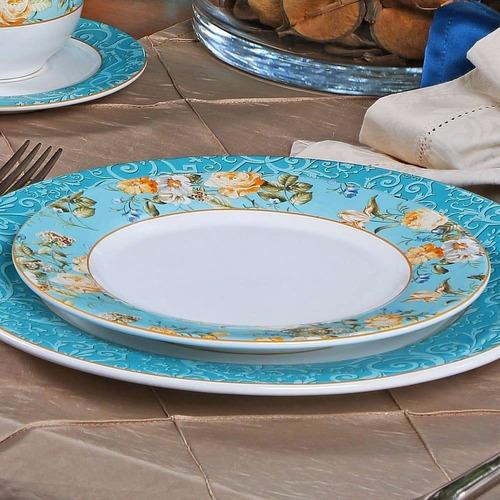 jogo pratos rasos sobremesa porto brasil flat elegance 6uni