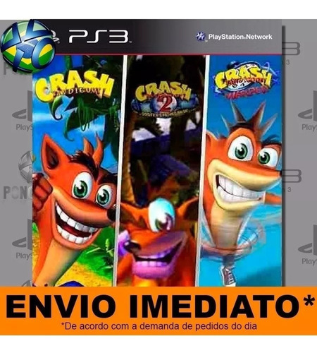 jogo ps3 crash bandicoot 1 2 3 psn play 3 mídia digital