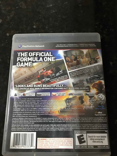 jogo ps3 fórmula 1 2010 original mídia física