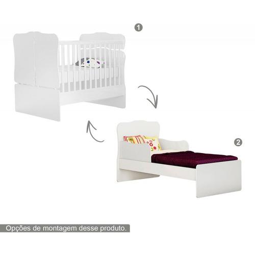 jogo quarto infantil 100% mdf berço vira mini cama