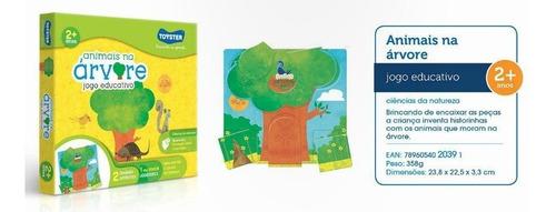 jogo quebra-cabeça educativo animais na árvore toyster 2039