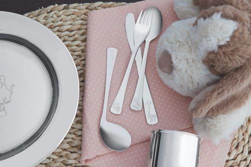 jogo refeição infantil tramontina inox e pote térmico rosa