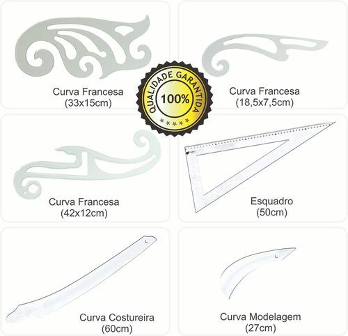 jogo réguas de curva francesa acrílico modelista costura
