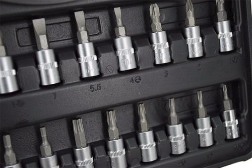 jogo soquetes + chaves catraca 1/4' cromovanadiun 45pç